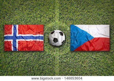 Norway Vs. Czech Republic Flags On Soccer Field, 3D Illustration
