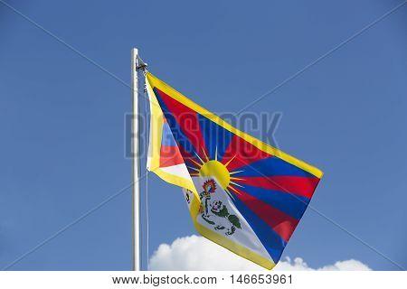 National Flag Of Tibet On A Flagpole