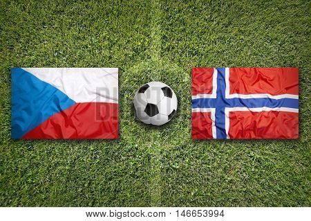 Czech Republic Vs. Norway Flags On Soccer Field, 3D Illustration