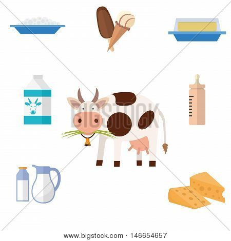 Cow and milk products icons. Food and drink, cheese, butter, ice cream and baby food. Vector illustration