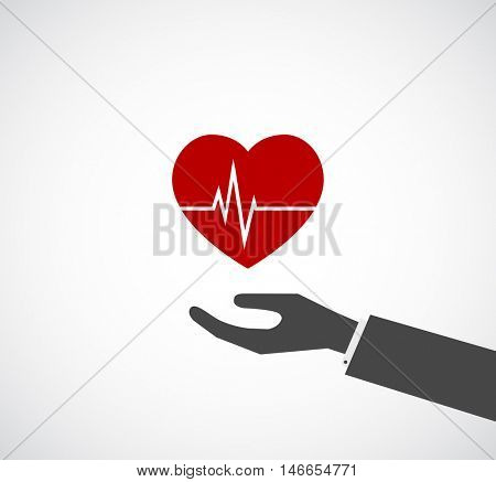hand giving heart with oscillogram - concept icon