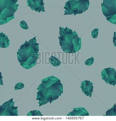 Seamless Abstract Ornamental Crystal Pattern With Leaves