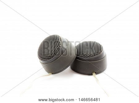 Treble speakers isolated on a white background
