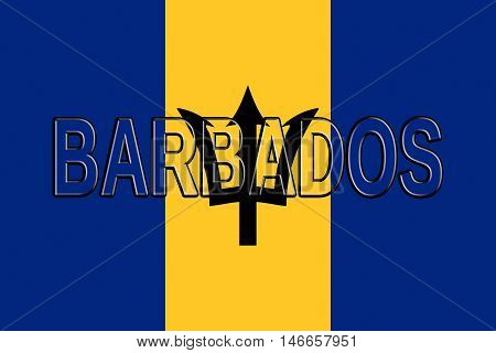 Illustration of the flag of Barbados with the country written on the flag
