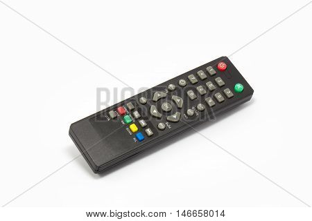Remote control for sattelite receiver box on white background