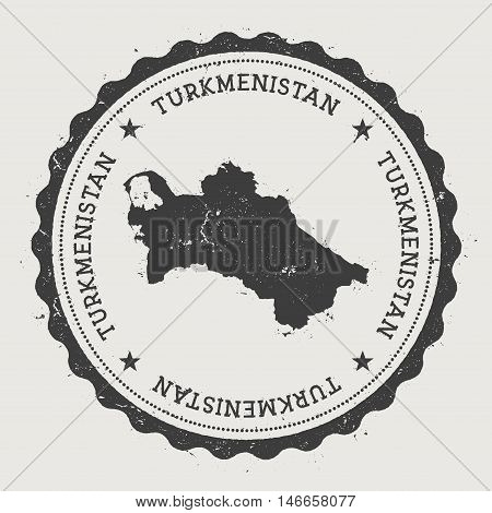 Turkmenistan Hipster Round Rubber Stamp With Country Map. Vintage Passport Stamp With Circular Text