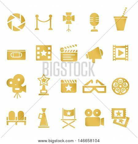 Cinema retro movies icons set. Template vector concept. Isolated on white.