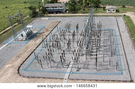 Sub station 115/22 kV outdoor type bird eye view from antennan tower 32 meter