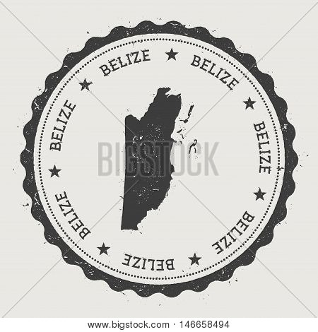 Belize Hipster Round Rubber Stamp With Country Map. Vintage Passport Stamp With Circular Text And St