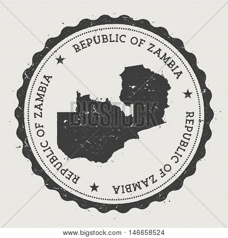 Zambia Hipster Round Rubber Stamp With Country Map. Vintage Passport Stamp With Circular Text And St