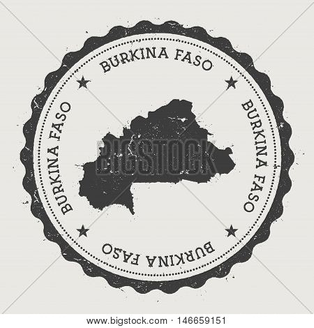 Burkina Faso Hipster Round Rubber Stamp With Country Map. Vintage Passport Stamp With Circular Text