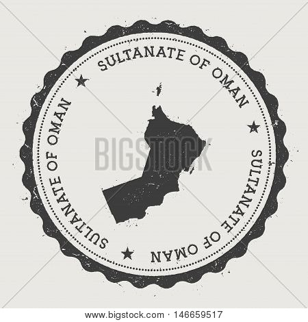 Oman Hipster Round Rubber Stamp With Country Map. Vintage Passport Stamp With Circular Text And Star