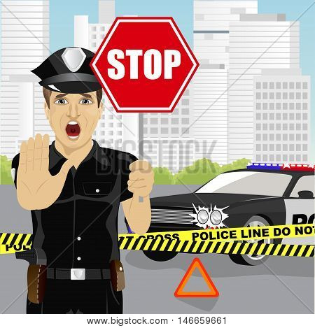policeman holding a stop sign and showing stop gesture warning about the accident near police car