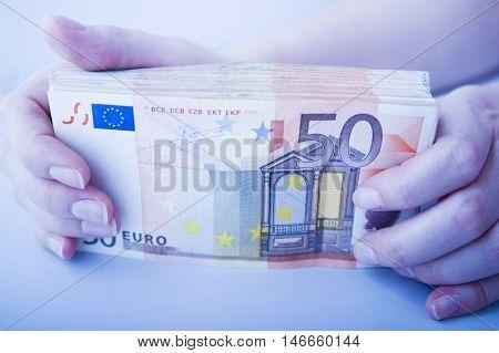 Showing Large Pile Of Euros