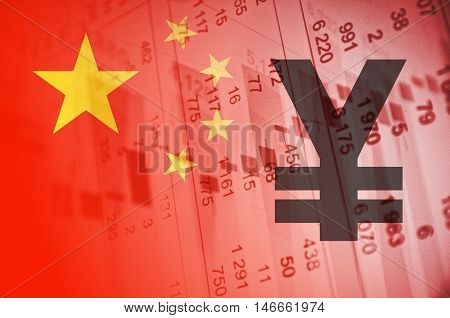 Yuan symbol. China flag, with the financial data in the background.