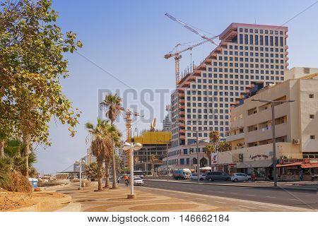 TEL AVIV, ISRAEL - August 24, 2016: luxury hotels on the promenade of Tel Aviv on august 24, 2016 Tel Aviv, Israel