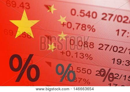 Exclamation point's icon. China flag, with the financial data in the background.