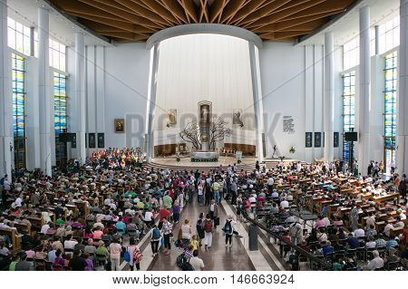POLAND, KRAKOW - MAY 28, 2016: Sanctuary in Lagiewniki.  Basilica of the Divine Mercy. Millions of pilgrims from around the world visit it every year.