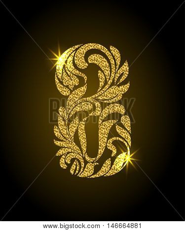 8. Decorative Font With Swirls And Floral Elements. Ornate Decorated Digit Eight With Golden Glitter