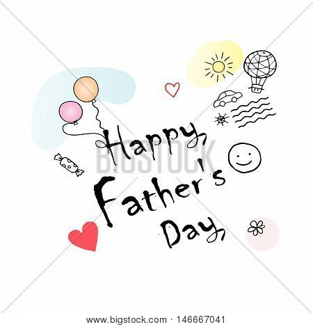 Happy Father's Day greeting card. Calligraphy card with hearts and balloons, car, waves. Vector illustration.