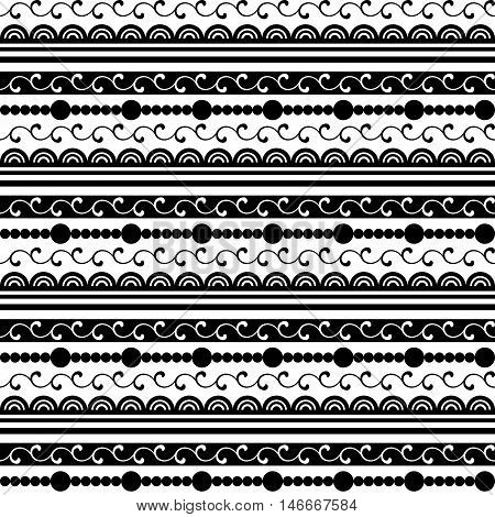 Black And White Seamless Pattern With Lace And Beads