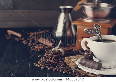 Cup Of Italian Espresso With Cinnamon. Tonned Photo