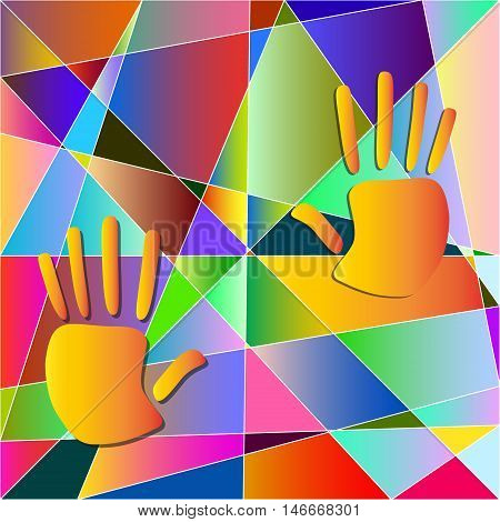 two hands on a background of colored triangles in the style of Picasso