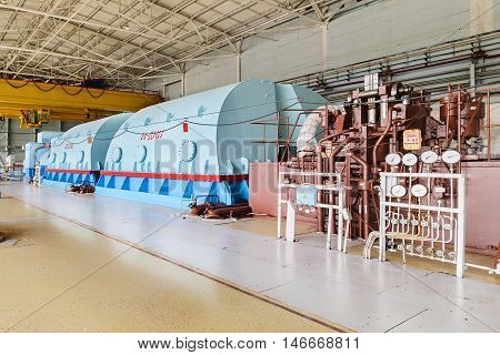 The energy industry. Powerful steam turbine nuclear power plant.