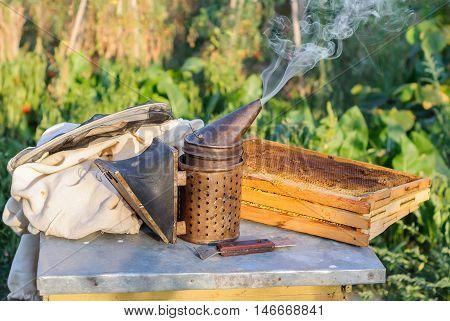 Smoker for bees, honeycombs, beekeeper tool beekeeping apiarist