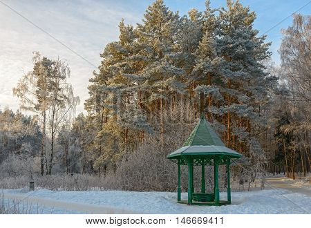 Trees and wooden arbour covered with hoarfrost in winter garden