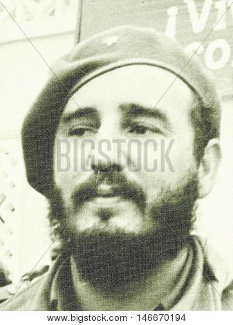 Yangiyer Uzbekistan - May 11 1963: Portrait of Fidel Castro.