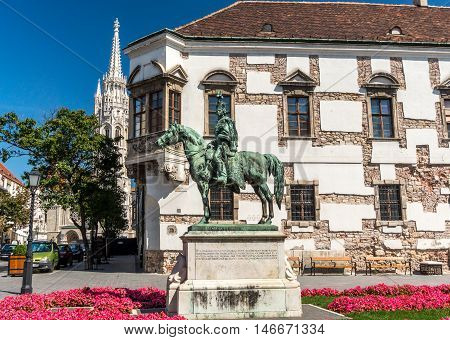 view of Equestrian statue in Buda Castle Hungary