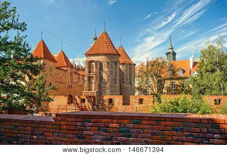 View of the Barbican Gate Warsaw Poland