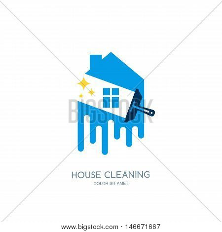 Cleaning service vector logo emblem or icon design template. Clean house isolated illustration.