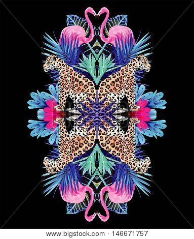 Exotic bird pink flamingo leopard and nature tropical plant leaf in the fashion mirror style. Illustrator vector paradise print wallpapers