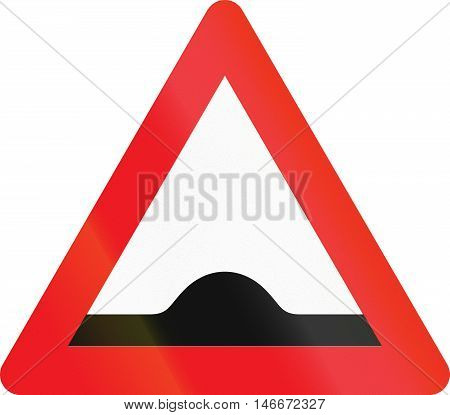 Warning Road Sign Used In Denmark - Speed Bump