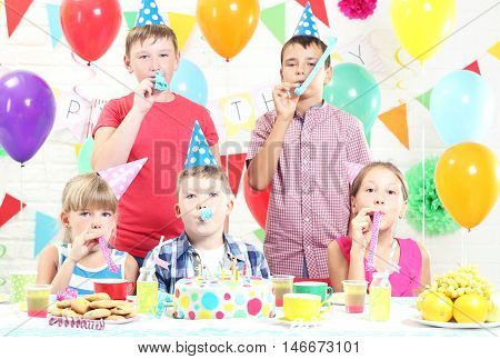 Happy Childrens Having Fun At Birthday Party