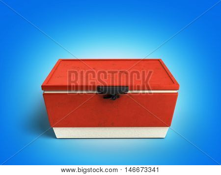 Beach Refrigerator Cooler Red 3D Render On Gradient Background