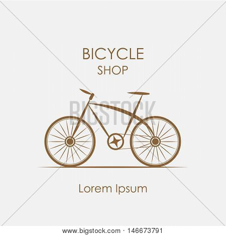 bicycle shop logo in vintage style - vector illustration