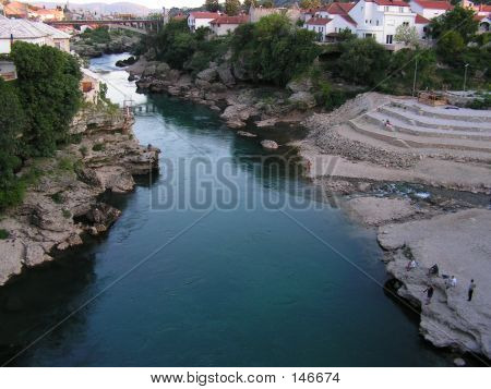 River Neretva - View From The Old Bridge In Mostar