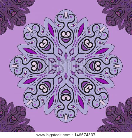 Violet vector seamless pattern with flowery mandalas print made in oriental style. Design for wrapper, decoration, carpet or textile