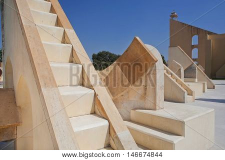 Ancient astronomical instrument Rashivalaya Yantra representing the zodiac signs Jaipur, India. Jantar Mantar is a UNESCO World Heritage site