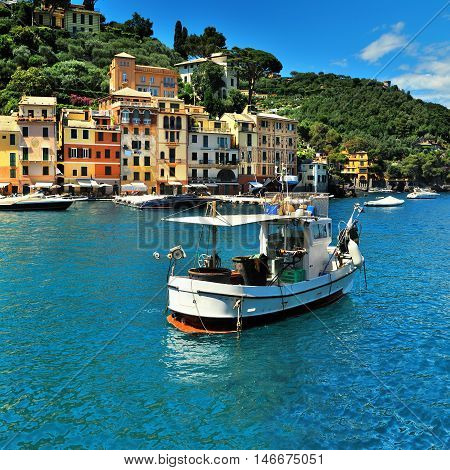 The beautiful bay of Portofino fishing village, luxury harbor, Ligurian Coast, Italy