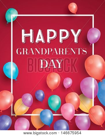 Happy Grandparents Day Card with Flying Balloons and White Frame.