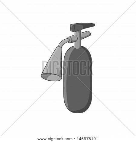 Fire extinguisher icon in black monochrome style isolated on white background. Equipment fire symbol vector illustration