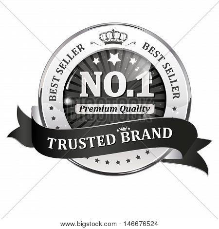 Trusted brand, best seller, Number one, premium quality - shiny metallic black icon / ribbon for retail companies