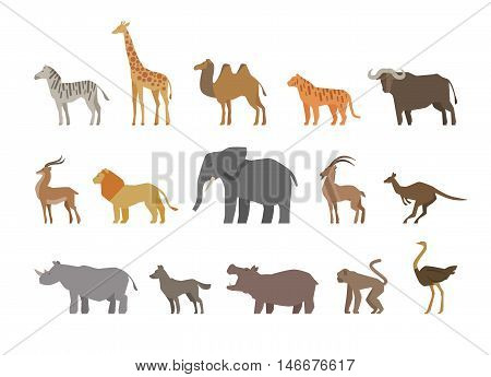 Animals set of colored icons on white background. Vector illustration