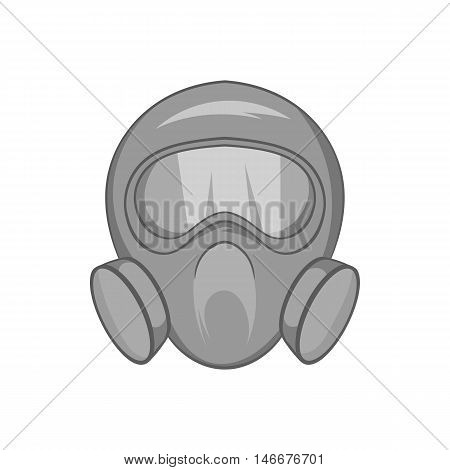 Gas mask icon in black monochrome style isolated on white background. Equipment symbol vector illustration