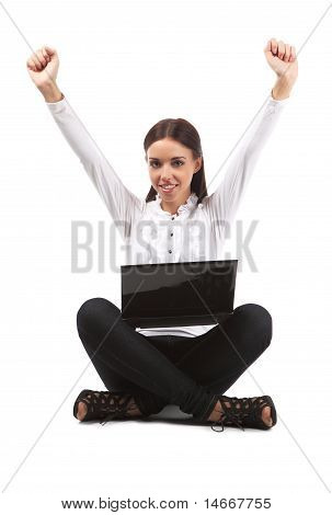 Woman In Front Of A Laptop