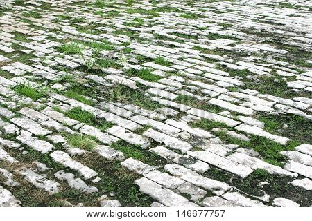 Ancient stone-paved area in Palace in the Forbidden City.  in Beijing. China